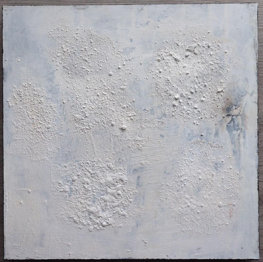 White 7, 2019, 40x40, Mischtechnik auf Holzkörper