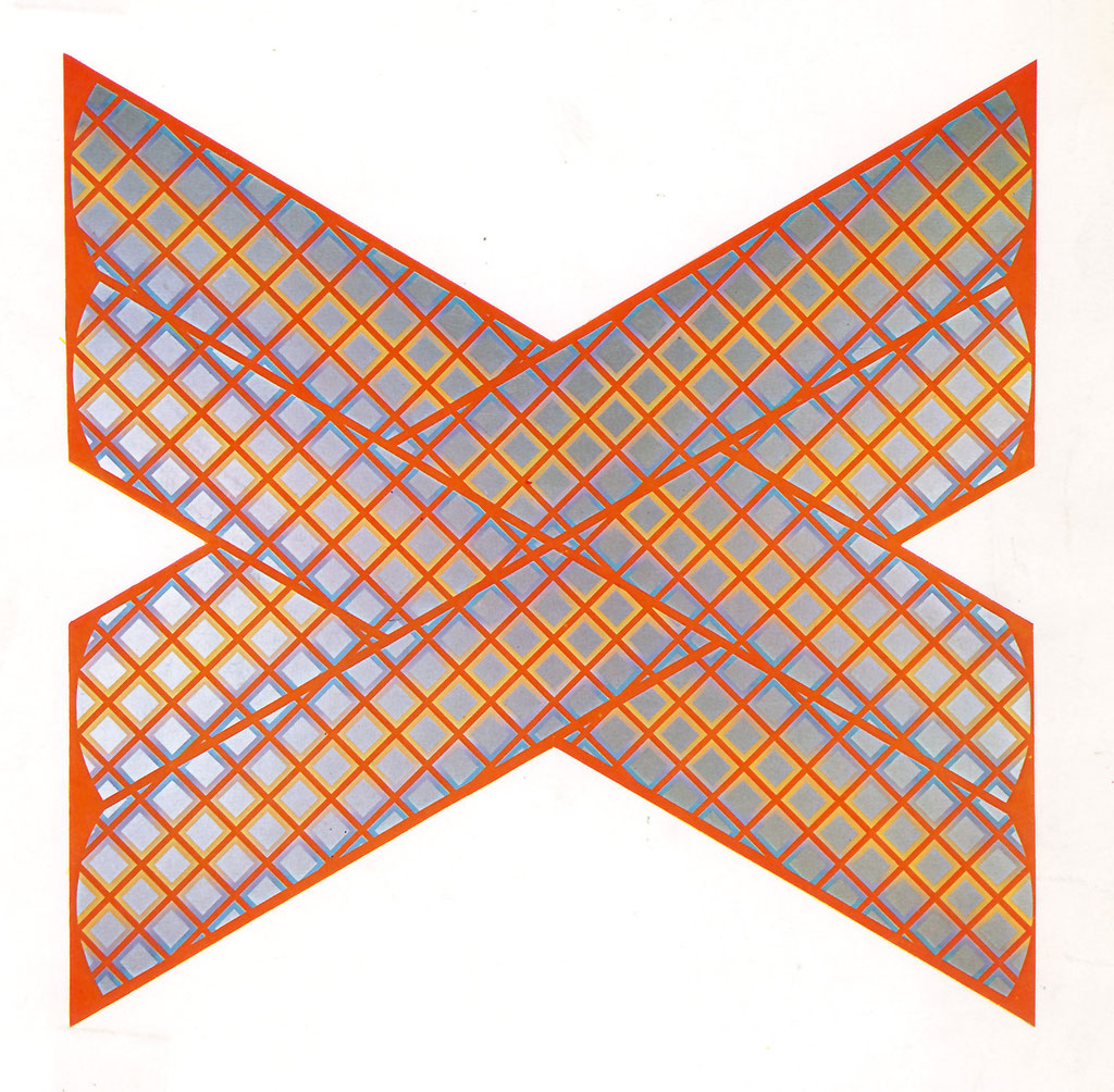 CROSS WORK 1967 Oil on shaped canvas 180x180cm