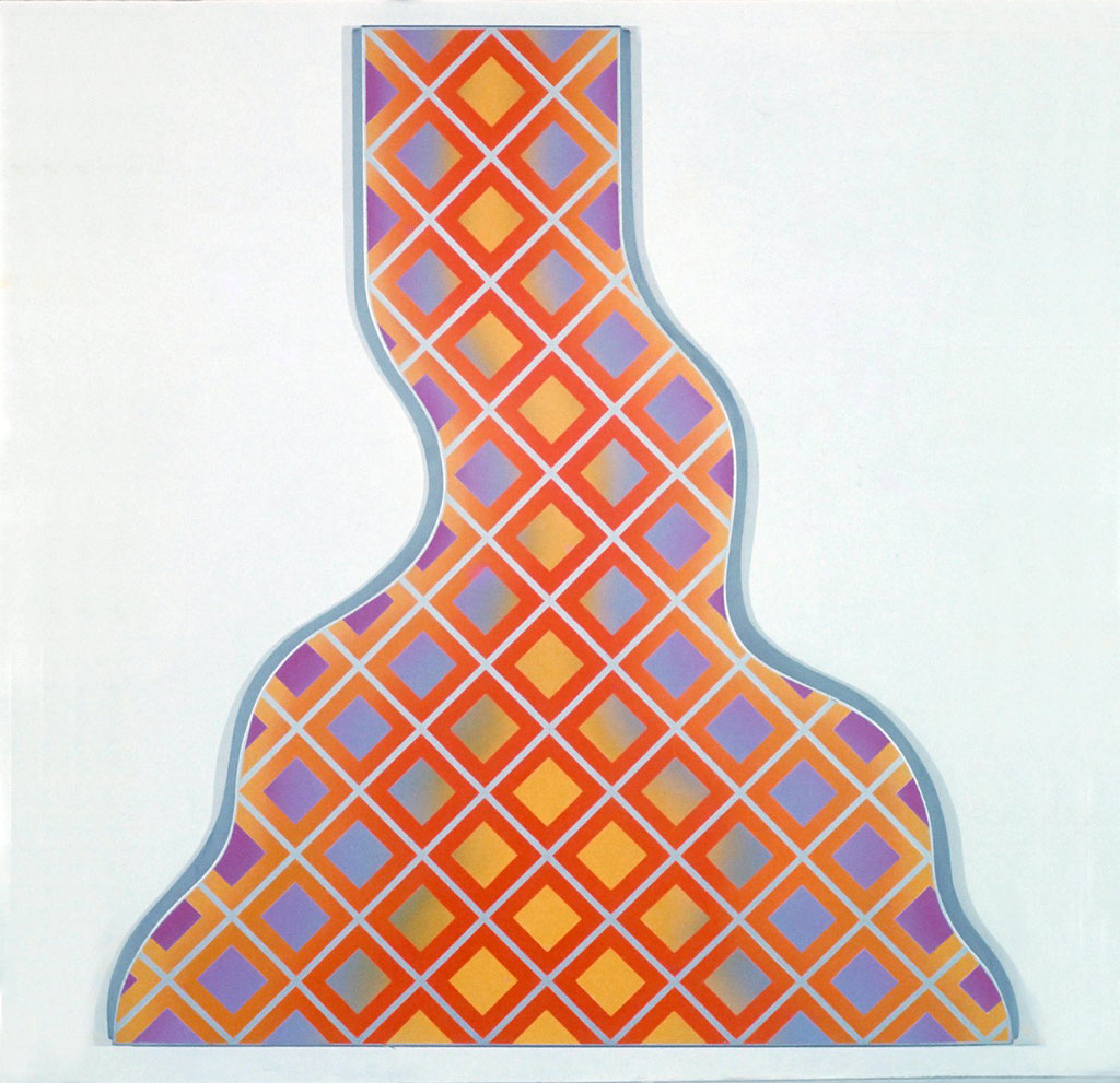 CROSS WORK 68-2 1968 Oil on shaped canvas 200x180cm