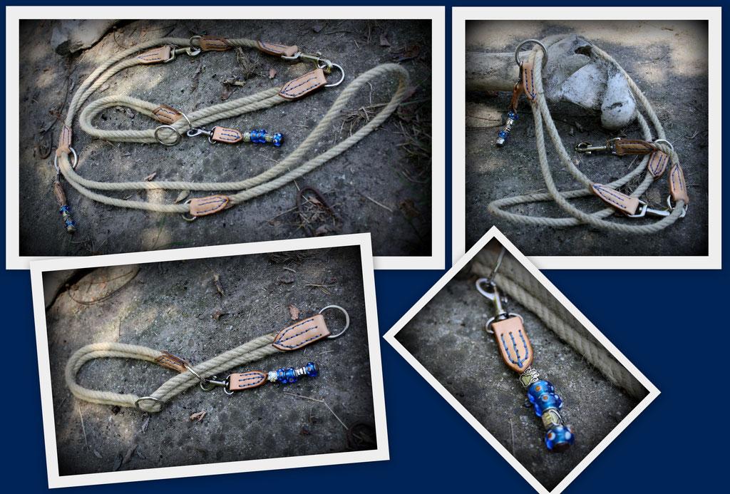 Halsband und Leine aus Hanfseil mit Lederstücken, 3fach verstellbar. Mit echt Perlen verziert.