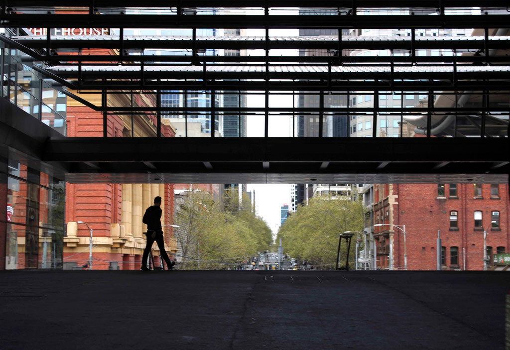 Melbourne train station scenes- the lonely commuter. October 2015