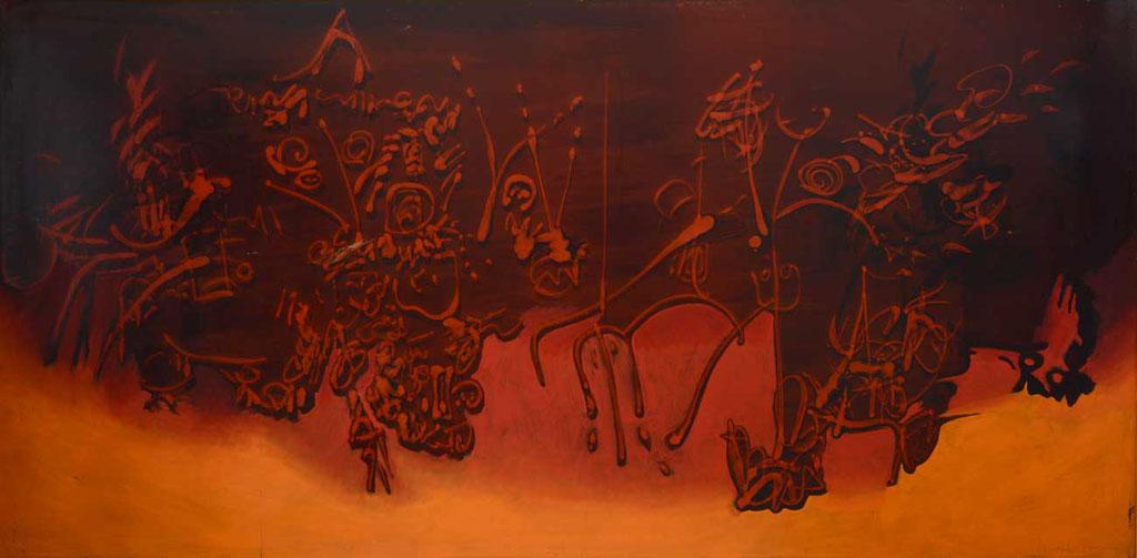 155 x 76 cm, huile sur panneau, 1964