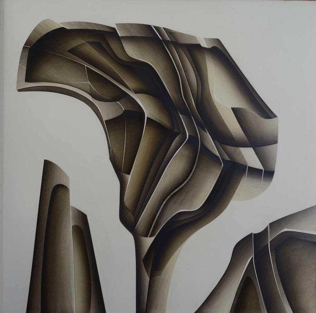 102 x 102 cm, huile sur panneau, 1981