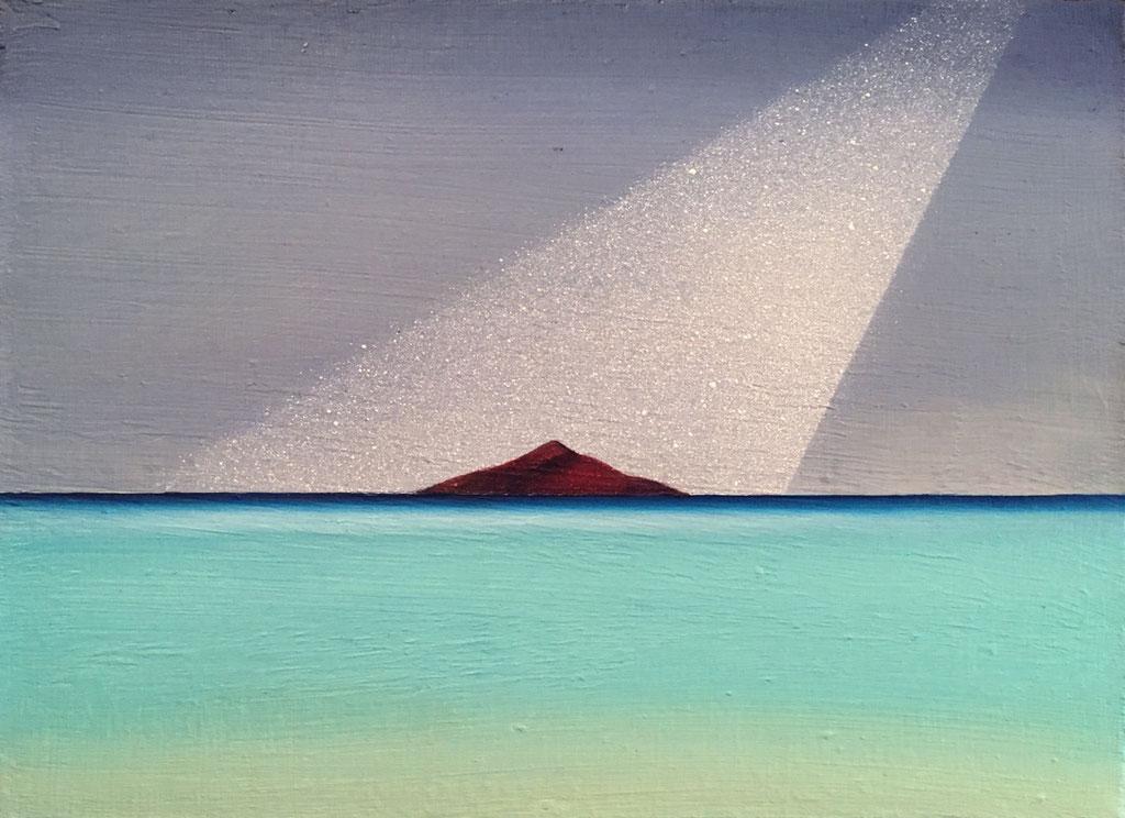 赤い小島 / a red small island,  油絵 / Oil Painting,  2018