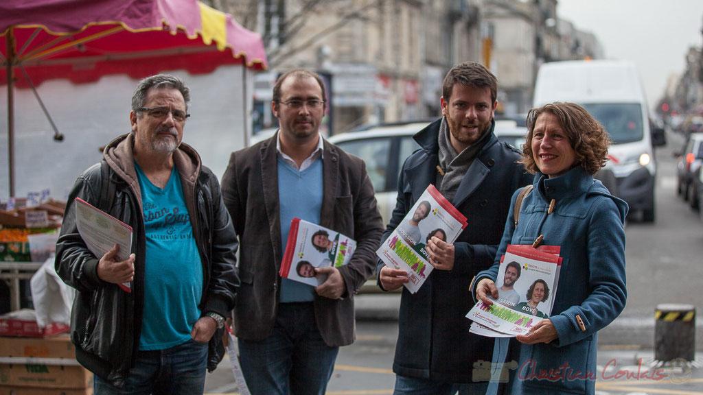 """Tractage au Marché des Capucins, liste """"faisons ensemble"""", La vague citoyenne, Bordeaux, Gironde"""