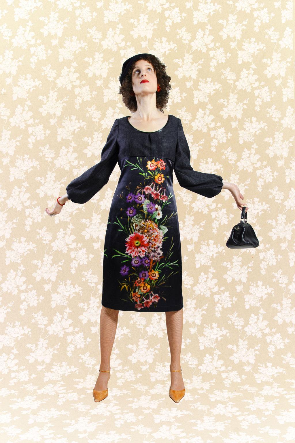 Kleid Danguole aus Wolle und Satin