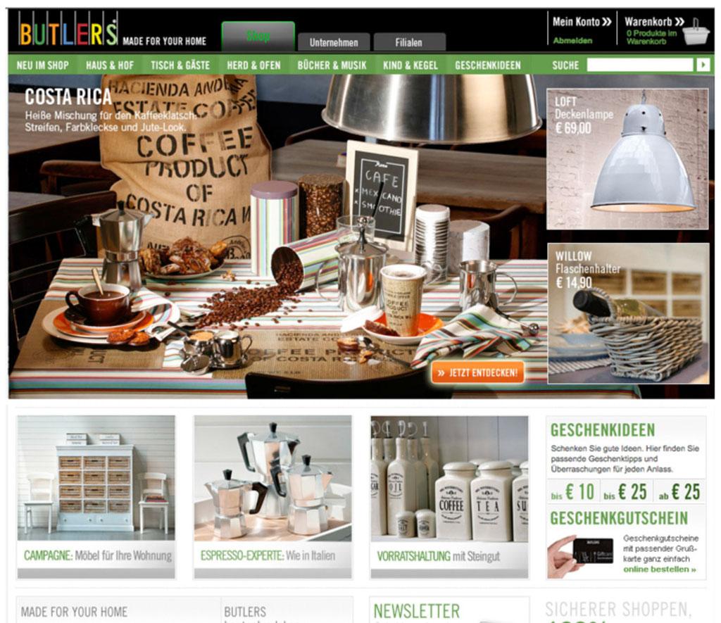 Startseiten-Werbung, Online Shop