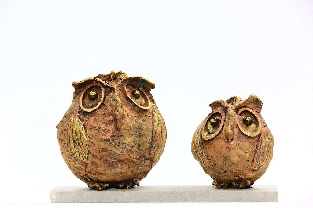 Bronze Stone Owl Couple - Powertex