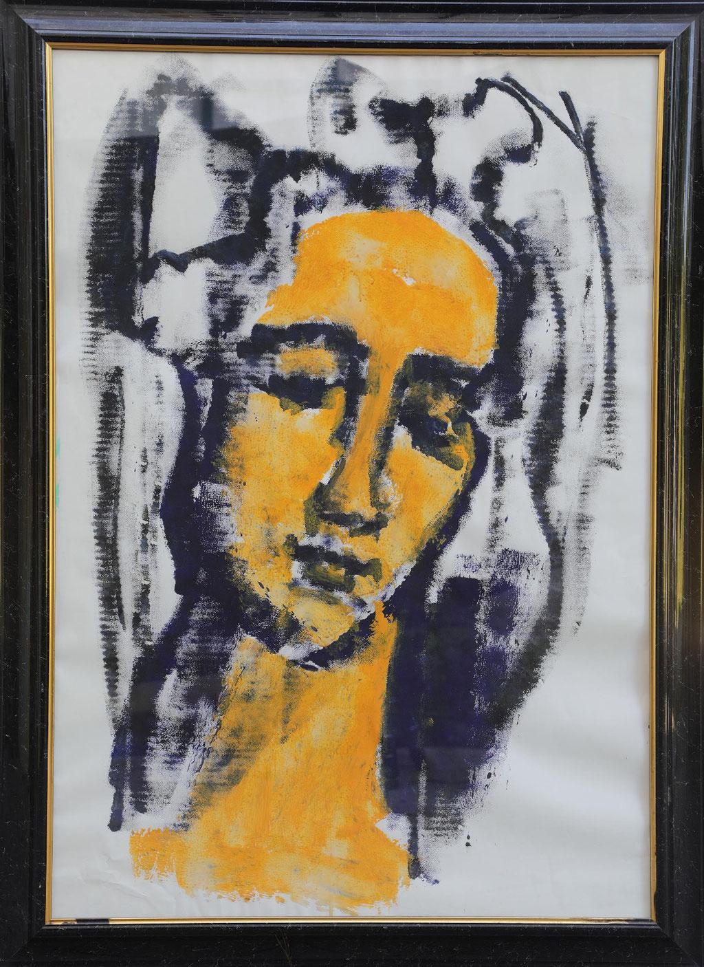 Portrait jaune - Acryl auf Papier 100x70cm - 2015 Nizza