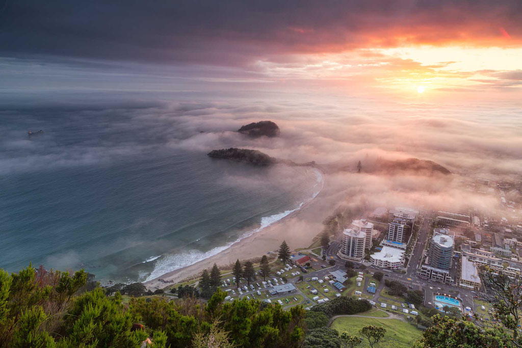 The city of Tauranga covered in the morning fog