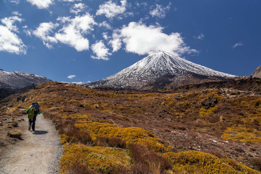 Approaching Mount Ngauruhoe on the Tongariro Crossing