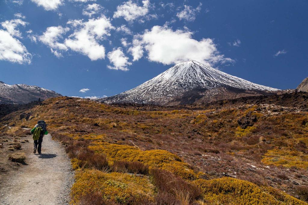Approaching Mount Ngauruhoe on the Tongariro Crossing