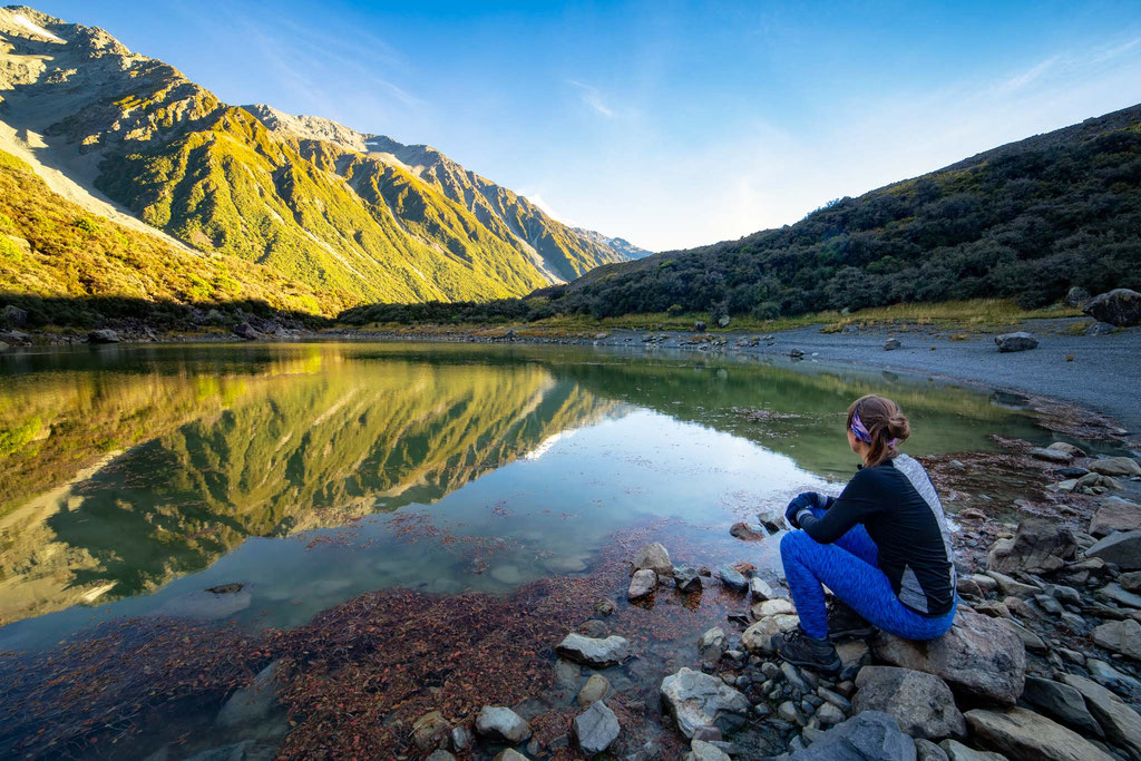 Blue lakes, Mount Cook National Park