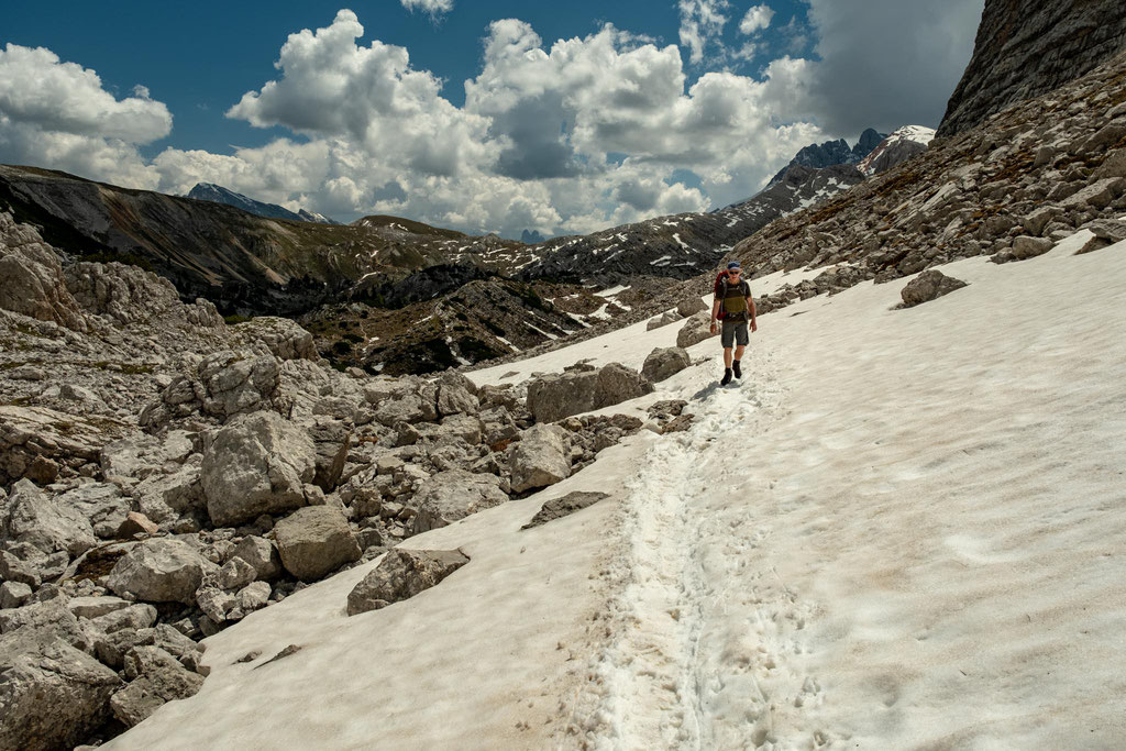 Snow is still prevalent on some sections of Alta Via 1 until mid July.