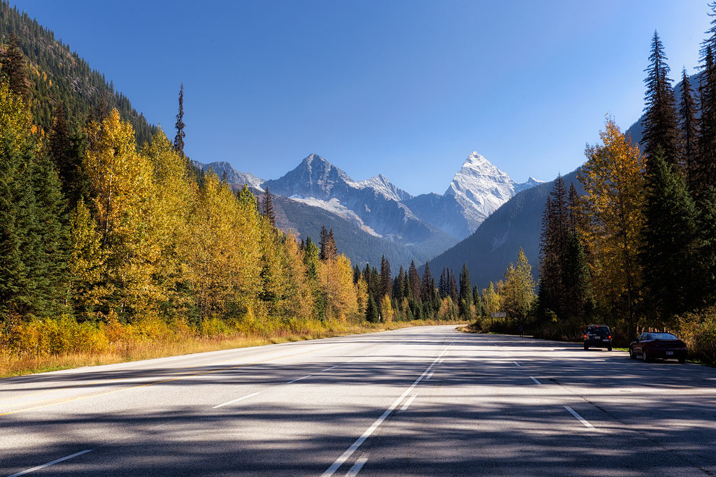 Driving through Glacier National Park in the Selkirk Mountain Range