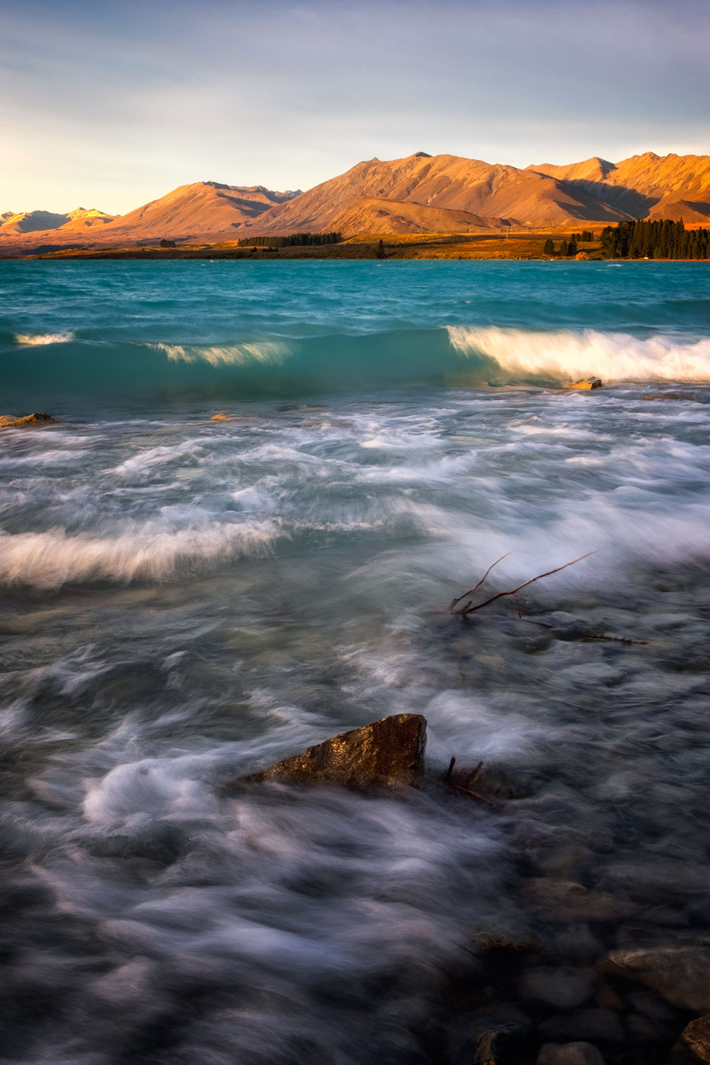 Lake Tekapo and its turquoise colours at sunset