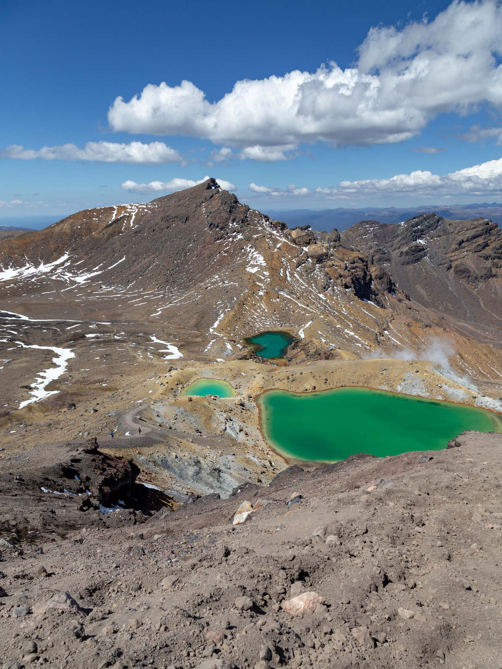 Emerald lakes viewed from the highest point of the Tongariro Crossing