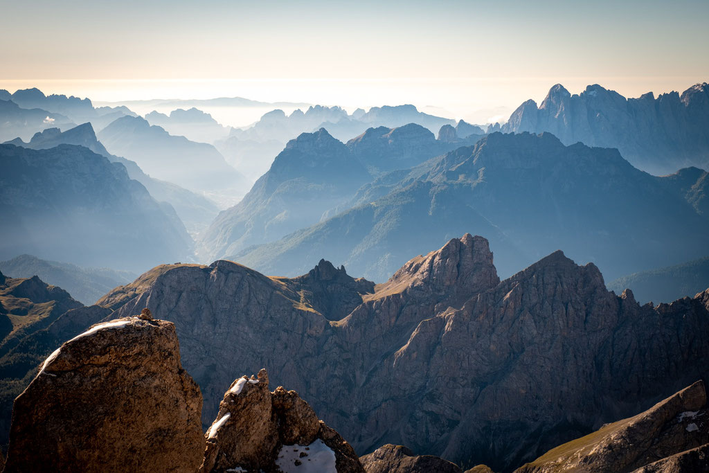 The views from the summit of Punta Rocca on Marmolada - Dolomite's highest peak.