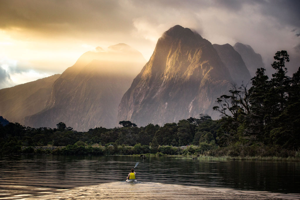 Kayaking through Milford Sound