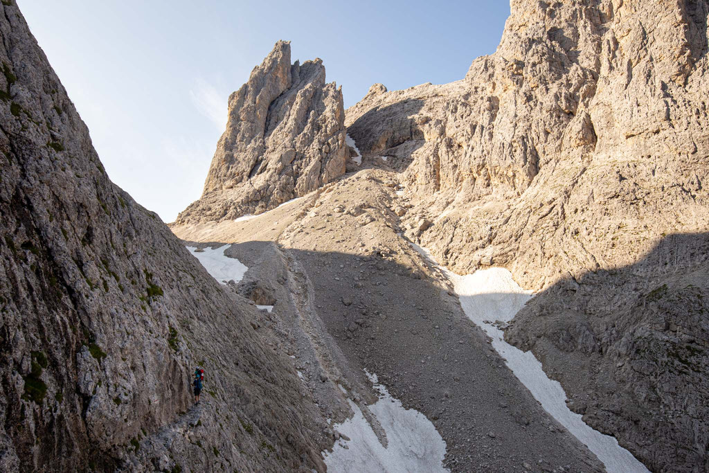 Approaching Passo di Ball on the 3rd day of the traverse