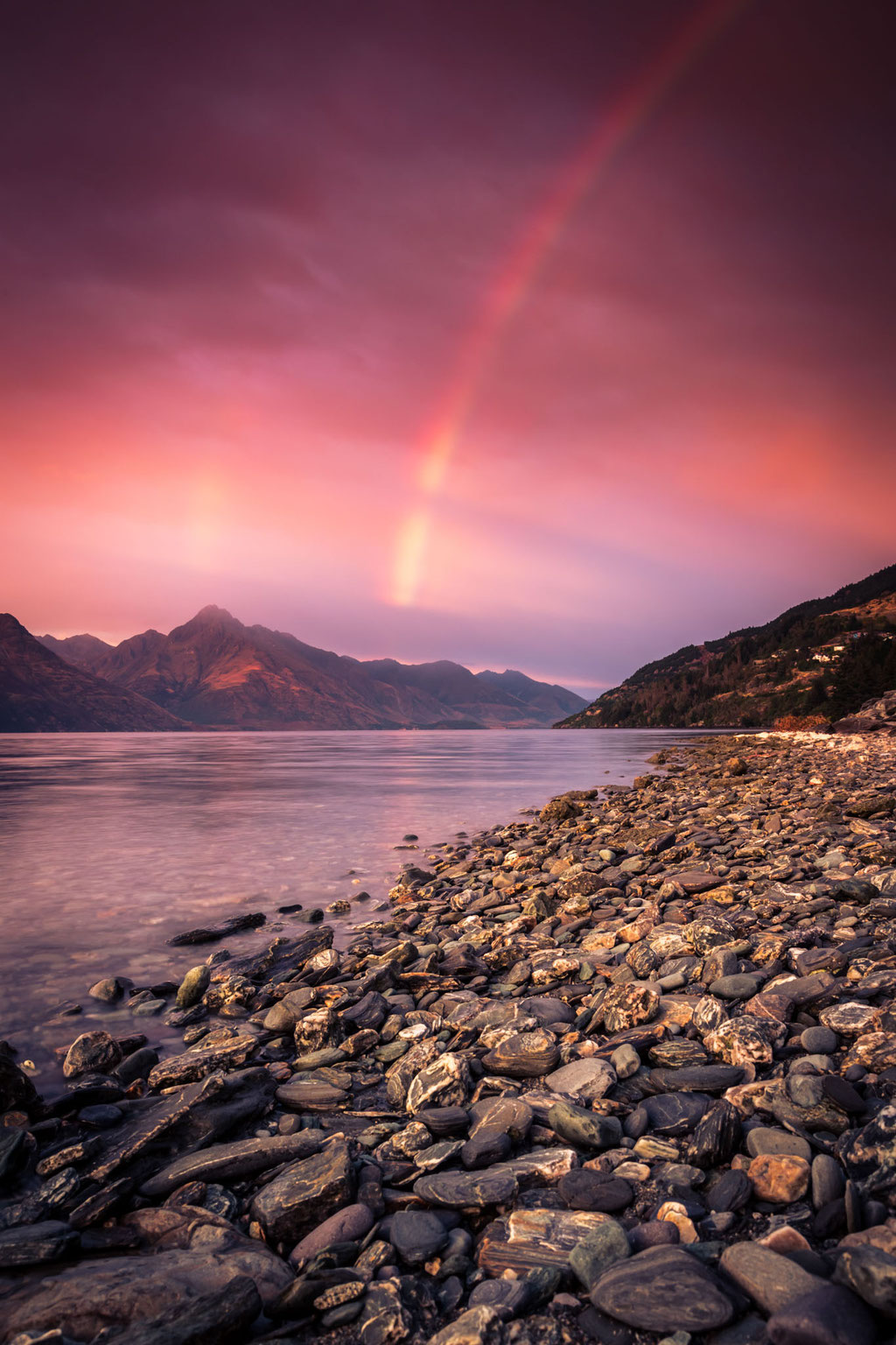 Special Sunrise with a rainbow over Queenstown