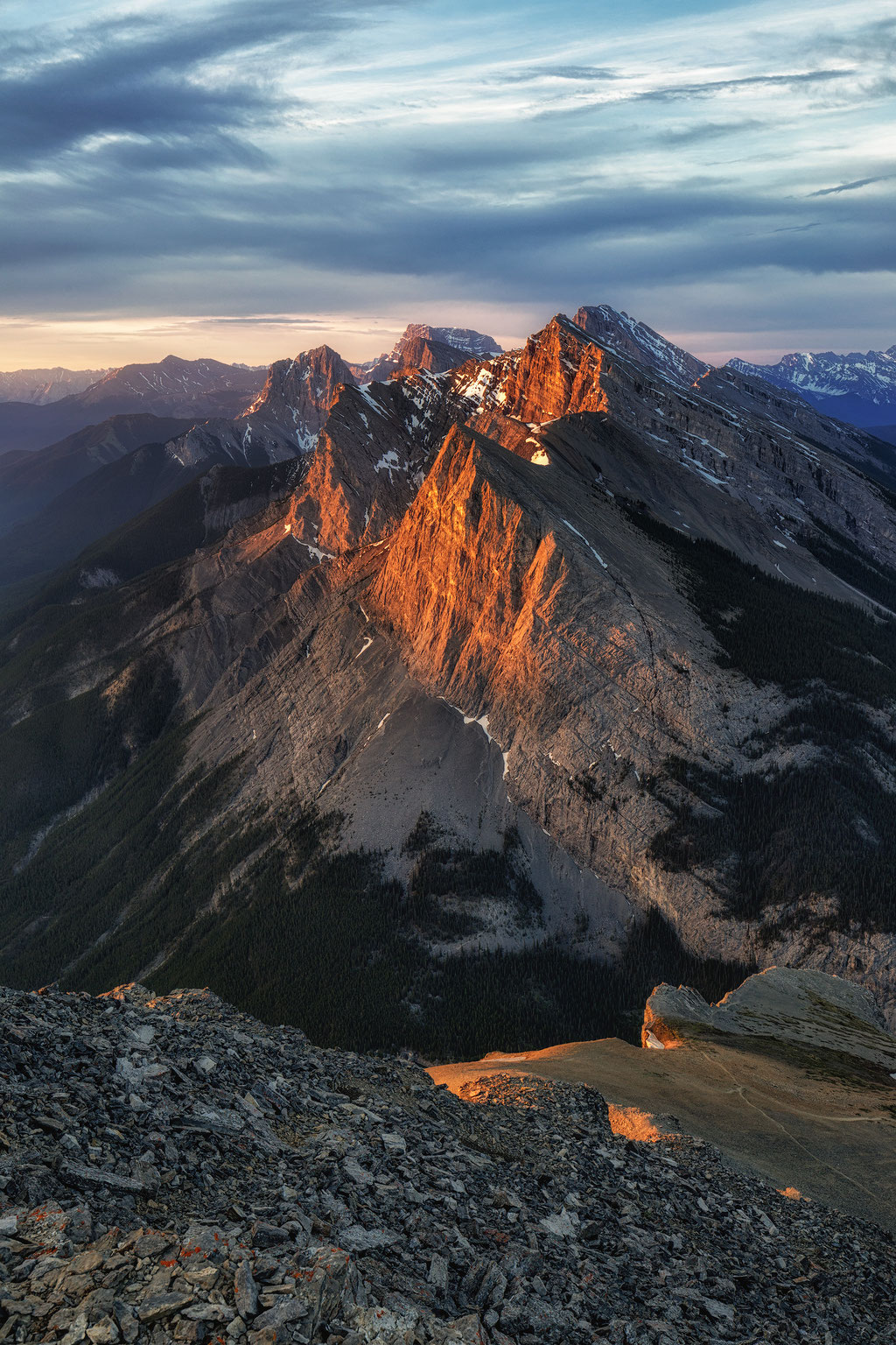 Ha Ling Peak at sunrise viewed from the East End of Mount Rundle