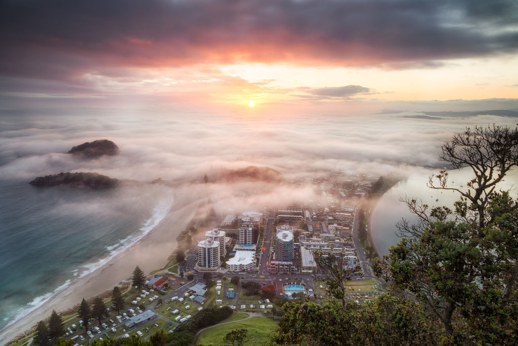 Sunrise from the top of Mount Maunganui overlooking Tauranga