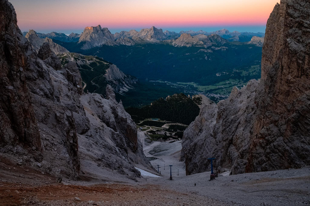 A downward view of the scree gully at dawn