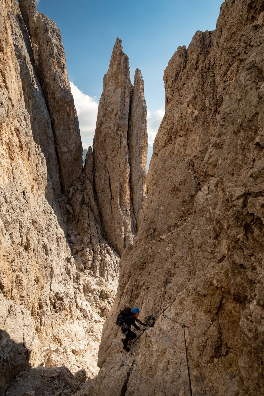 The spires on the via ferrata Passo Santner