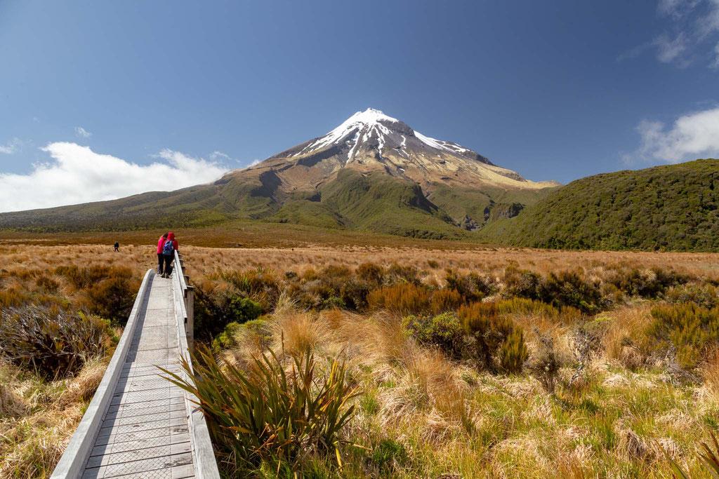 The majestic Mount Taranaki on the Pouakai Crossing