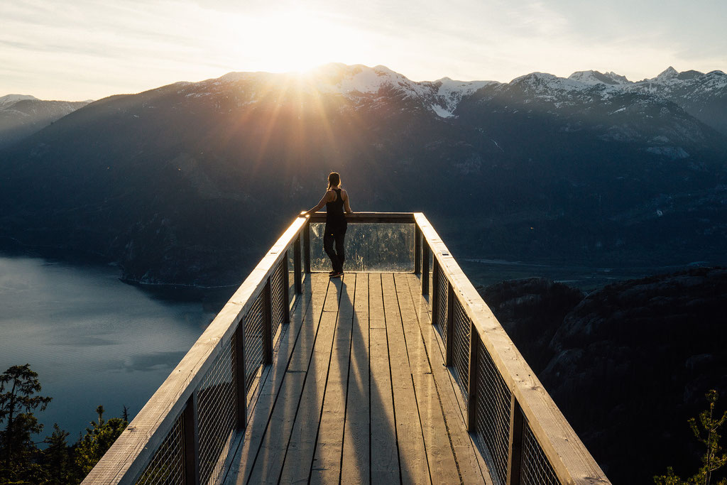The viewing platform of the Sea to Sky Gondola in Squamish. Guide to Sea to Sky Highway
