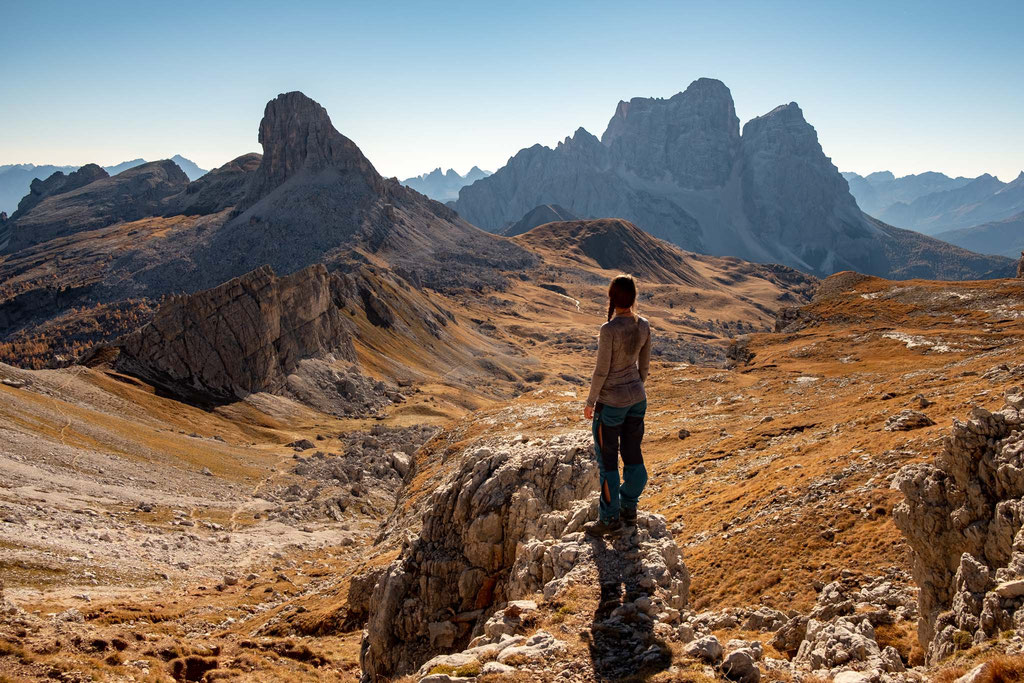 Views over Mount Pelmo from Forcella de Formin