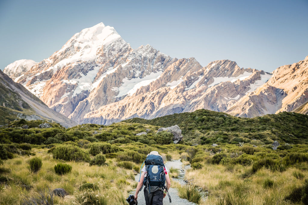 Hiking along the Hooker valley in Mount Cook National Park