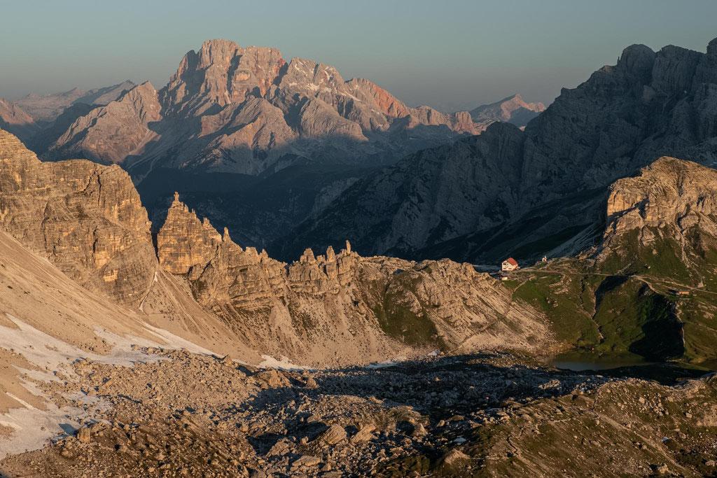 Rifugio Locatelli with Monte Cristallo in the background