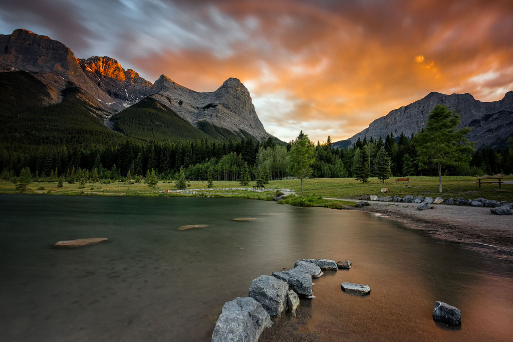 Quarry Lake in Canmore at sunset