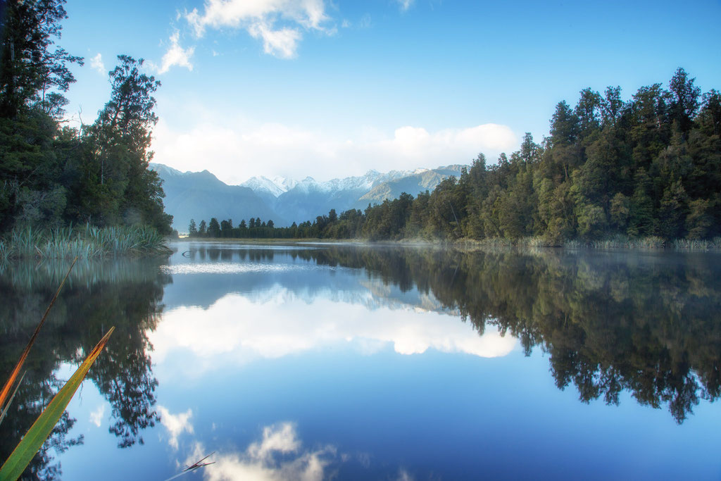 A classic view of Lake Matheson with reflections of Mount Cook