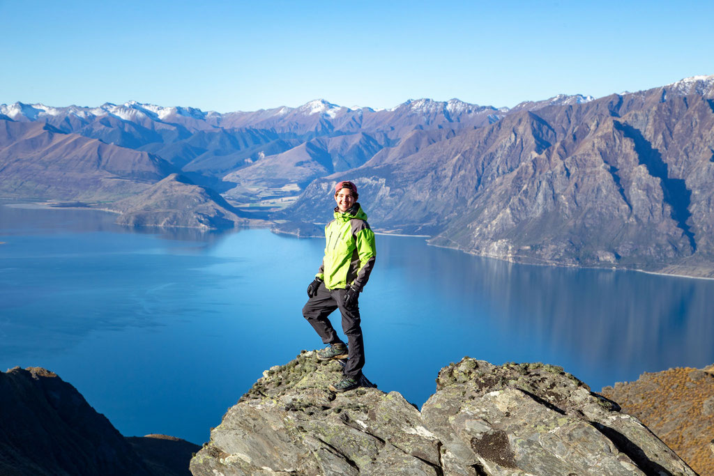 A friend of mine posing with Lake Hawea in the background