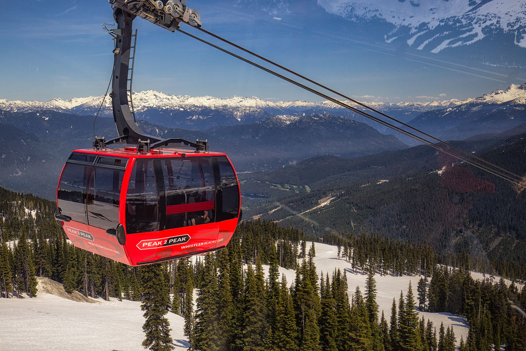 Peak to peak gondola overlooking Whistler. Sea to Sky Highway guide