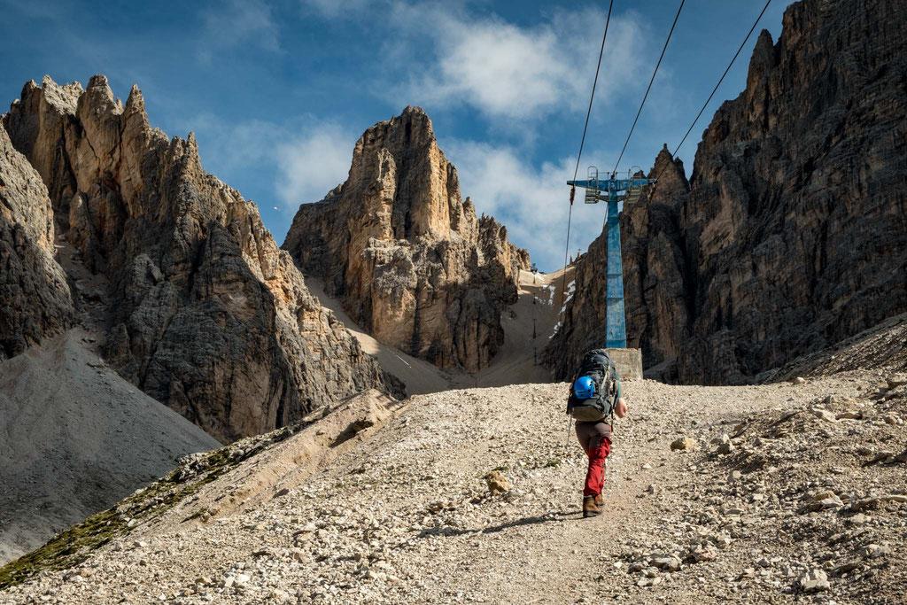 the scree gully leading to rifugio Lorenzi