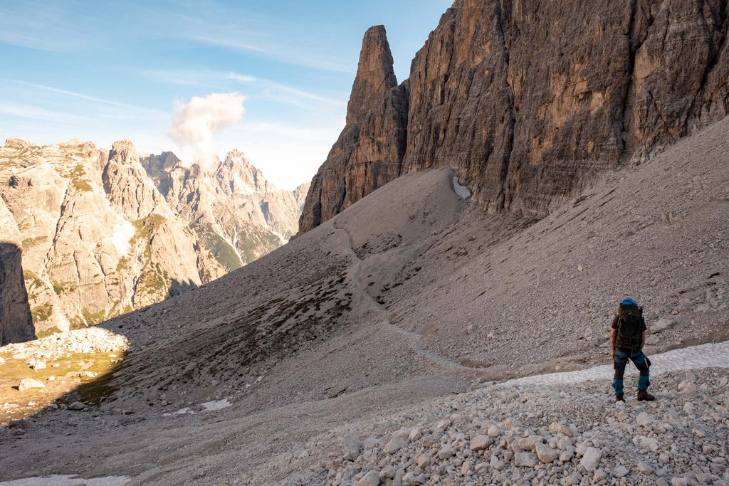 The eastern slopes of Cima undici in the Tre Cime National Park