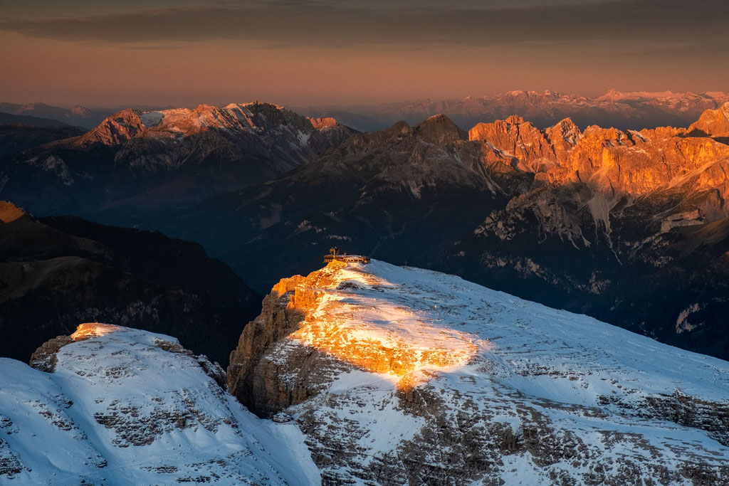 First light on the top of the Pordoi Cable Car station