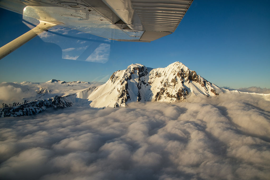 Scenic Flight Above Garibaldi Provincial Park. Mount Garibaldi in the distance