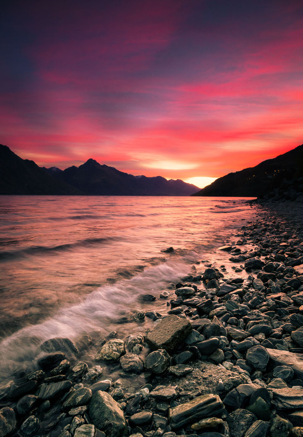 Sunset in Queenstown New Zealand