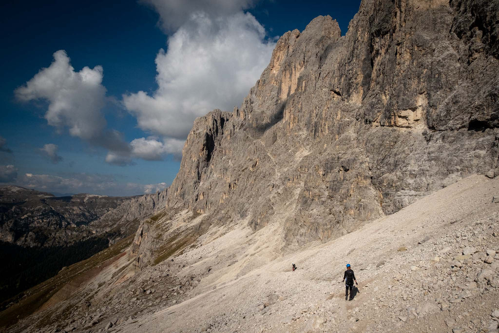The first leg of the Via Ferrata Passo Santner, right above the Rosengarten hut