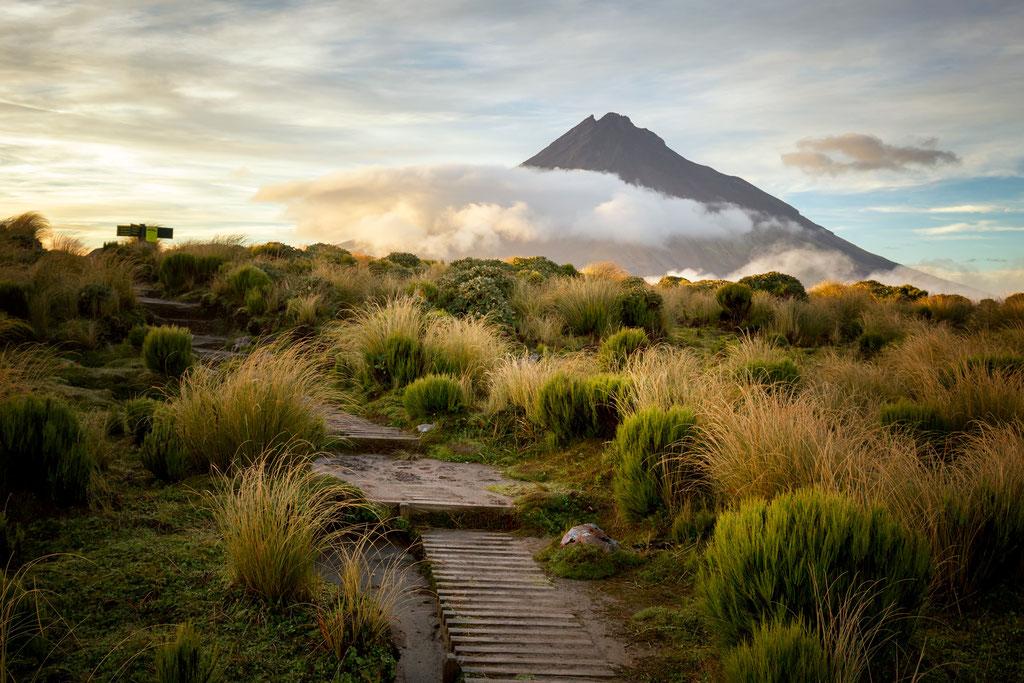 Volcano Taranaki along the Pouakai Crossing route.