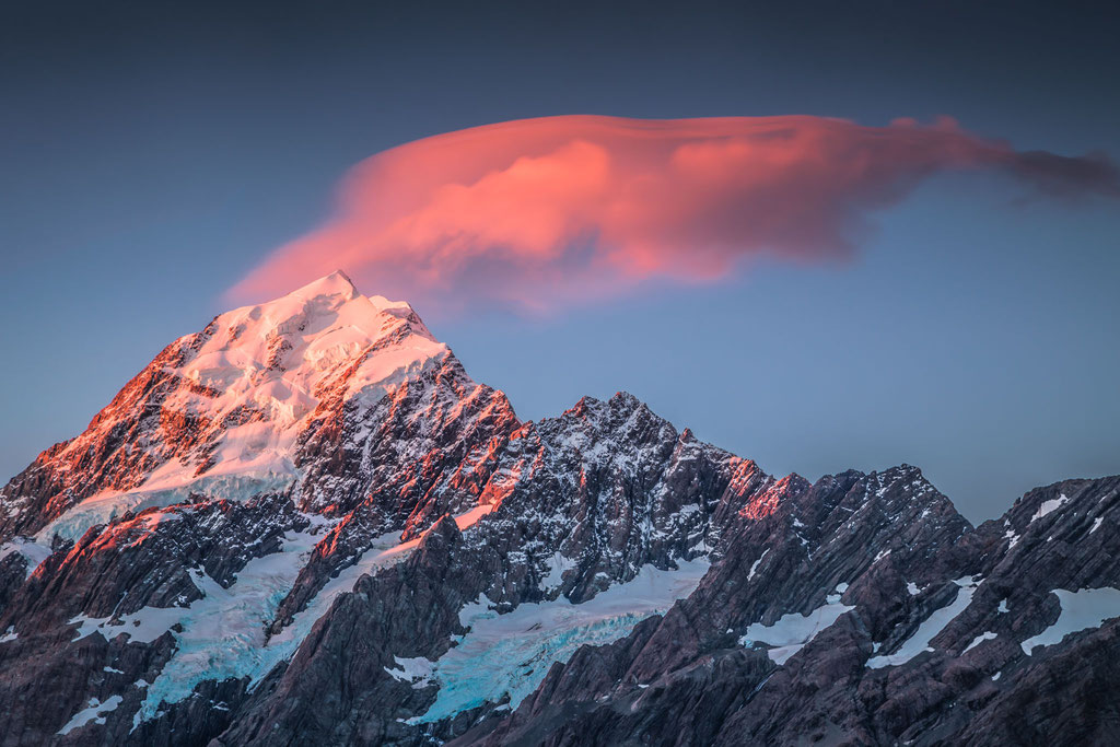 Mount Cook lighting up at sunset