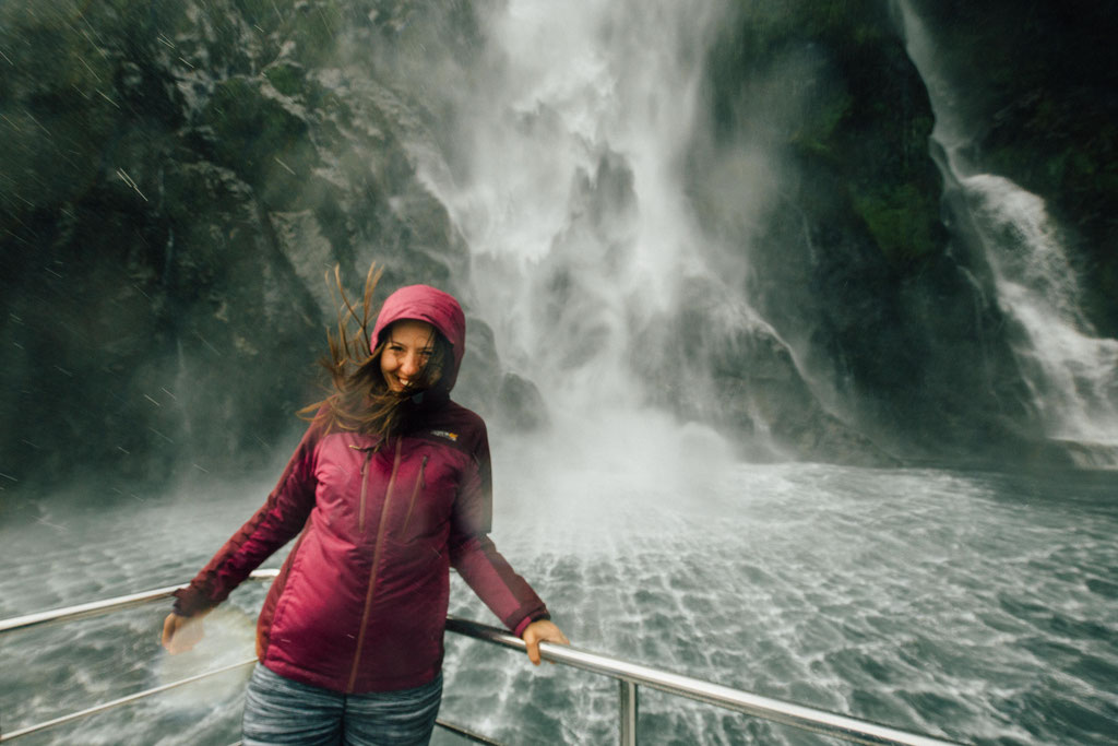 Me getting wet at the Sterling Falls.