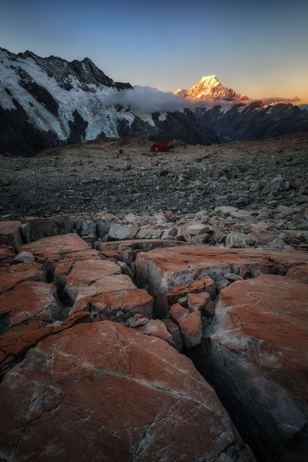 Mueller hut with Mount Cook in the background