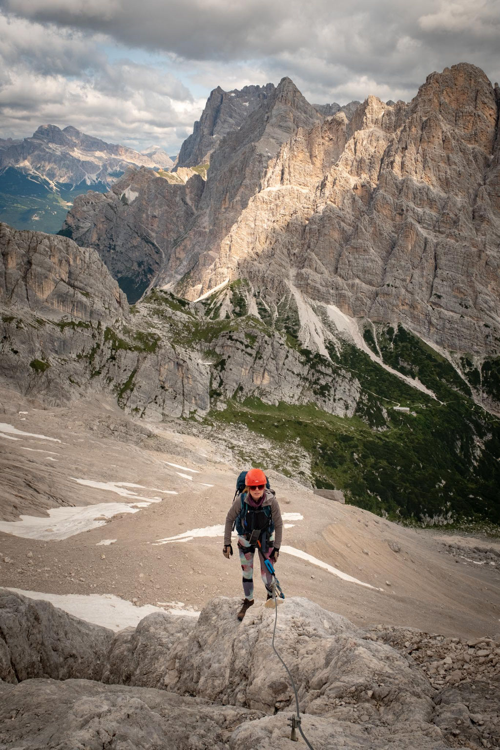 along a via ferrata leading to Forcella del Ghiacciaio. Forcella Piccola can be seen far in the distance