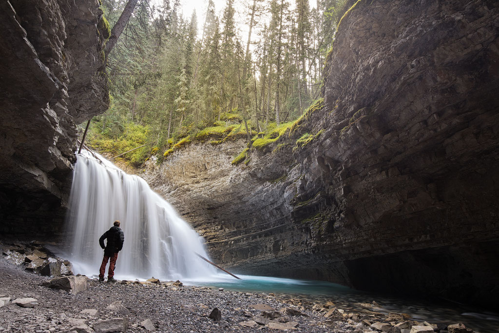 Waterfall in Johnston Canyon.